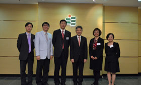 Mr. ZHU Qi (3rd from left), Chief Executive Officer of Wing Lung Bank and management members of the Bank posed for a photo with Professor Stephen Cheung Yan-leung (3rd from right), President of HKIEd.